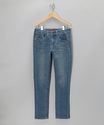 Light Blue Wash Stud Skinny Jeans - Girls