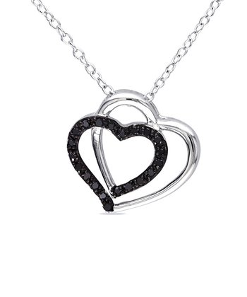 Black Diamond & Silver Double Heart Pendant Necklace