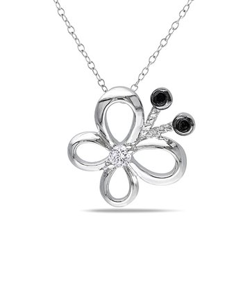 Black & White Diamond Butterfly Pendant Necklace