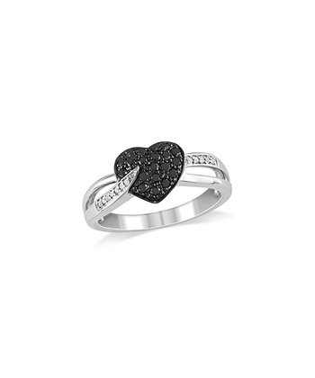 Black & White Diamond Pavé Heart Ring