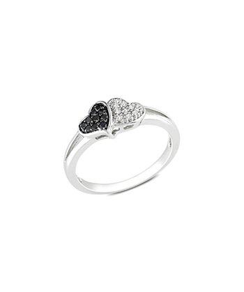 Black & White Diamond Pavé Double Heart Ring