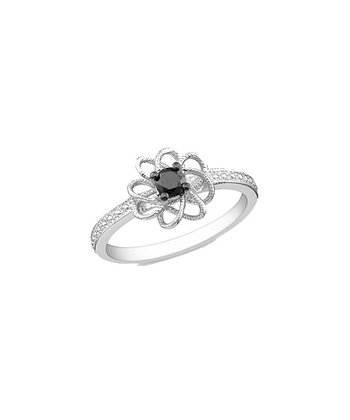 Black Diamond & Silver Fancy Flower Ring