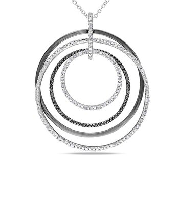 Diamond & Silver Circle Pendant Necklace