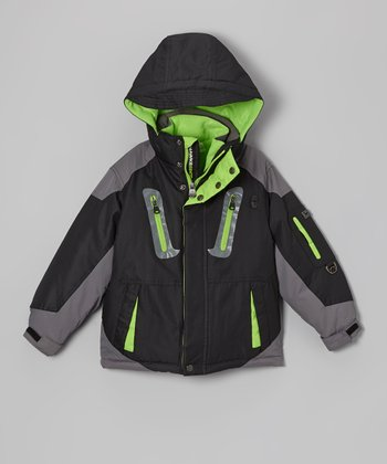 Black & Lime HK Sport System Jacket - Boys