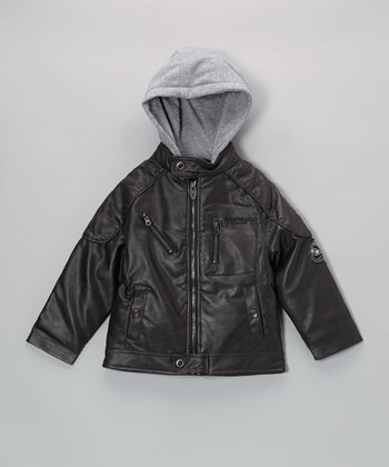 Hawke Gray Faux Leather Hooded Bomber Jacket - Boys