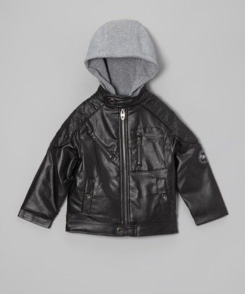 Black Faux Leather Hooded Biker Jacket - Boys