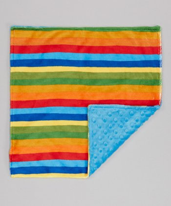 Azure & Rainbow Stripe Minky Security Blanket