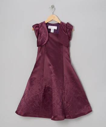 Plum Beaded Satin A-Line Dress & Shrug - Girls