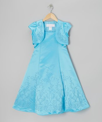 Turquoise Beaded Satin A-Line Dress & Shrug - Girls