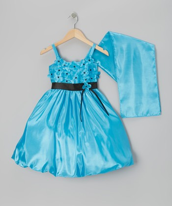 Turquoise Organza Flower Bubble Dress & Shawl - Toddler & Girls