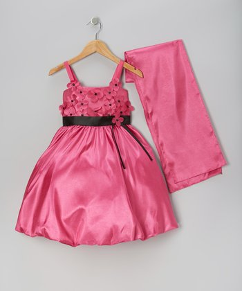 Fuchsia Organza Flower Bubble Dress & Shawl - Toddler & Girls