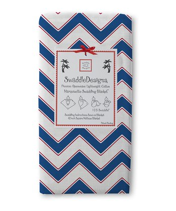 True Blue & Red Marquisette Swaddling Blanket
