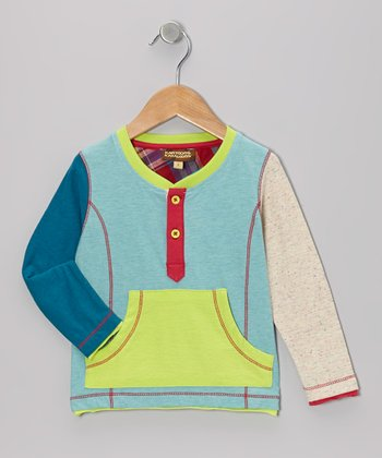 Seafoam Color Block Henley - Toddler & Boys