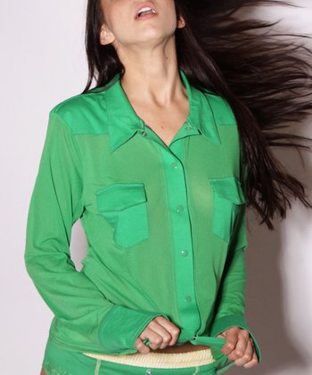 Kelly Green Western Sheer Long-Sleeve Top - Women