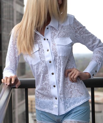 White Paisley Western Sheer Long-Sleeve Top - Women