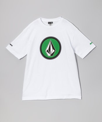 White & Green Four Corners Tee - Boys