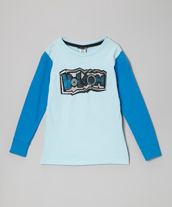 Light Blue 'Volcom' Raglan Tee - Boys