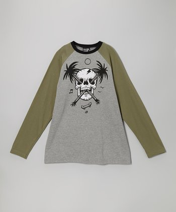 Army Green Palm Skull Tee - Toddler & Boys