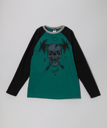 Black & Green Palm Skull Tee - Toddler & Boys