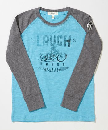 Blue Moto Rally Raglan Tee - Toddler & Boys