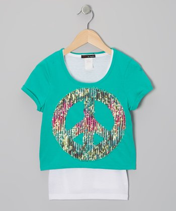 Green & White Peace Layered Top - Girls