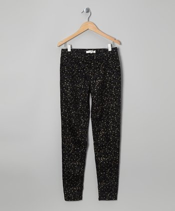 Black & Silver Galaxy Skinny Jeans - Girls