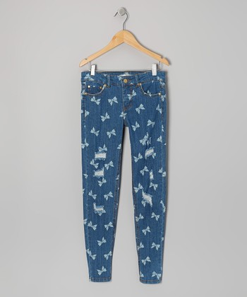 Medium Wash Bow Skinny Jeans - Girls