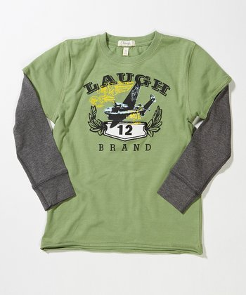 Green Bomber Layered Tee - Toddler & Boys