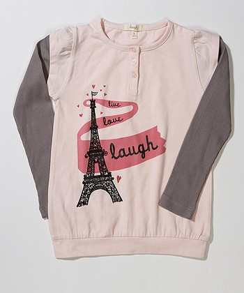 Light Pink Eiffel Tower Layered Tee - Toddler & Girls