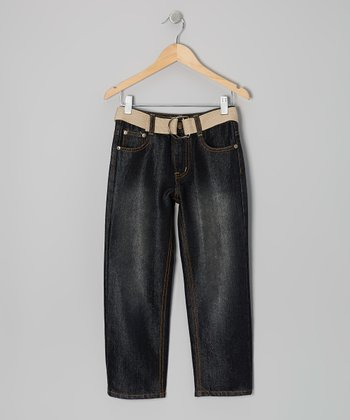 Black & Ivory Embroidered Belted Jeans - Boys