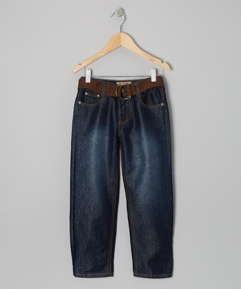 Medium Wash & Brown Embroidered Belted Jeans - Boys