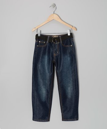 Dark Wash & Black Embroidered Belted Jeans - Boys