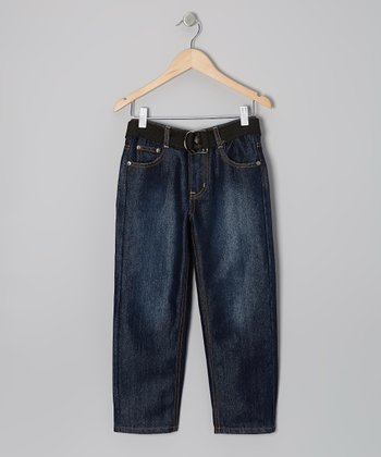 Dark Wash & Gold Embroidered Belted Jeans - Boys