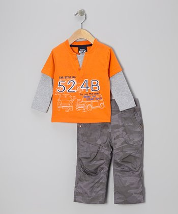 Orange Layered Henley & Pants - Infant & Toddler