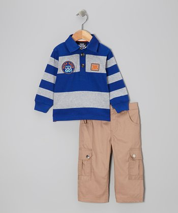 Royal Stripe Polo & Cargo Pants - Infant & Toddler