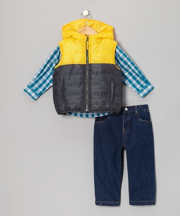 Yellow & Gray Vest Set - Infant & Toddler