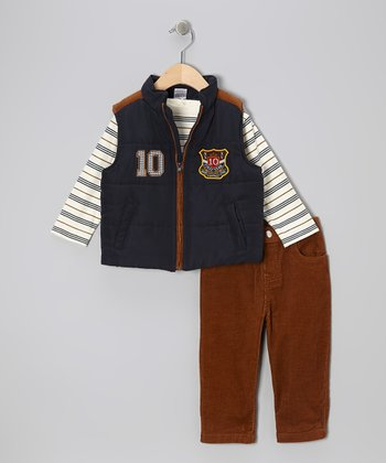 Navy '10' Vest Set - Toddler
