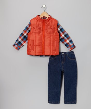 Orange Plaid Vest Set - Infant