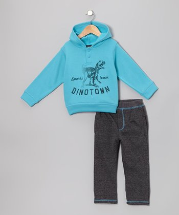 Aqua 'Dinotown' Hoodie & Pants - Infant & Toddler