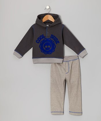 Gray 'Cool Dude' Hoodie & Pants - Infant & Toddler