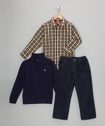 Peacoat Blue Pullover Set - Toddler & Boys