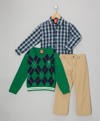 Green Argyle V-Neck Sweater Set - Toddler