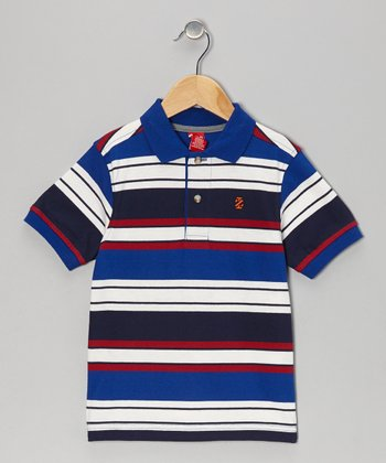 Blue Stripe Piqué Polo - Boys