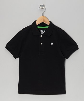 Deep Black Piqué Polo - Boys