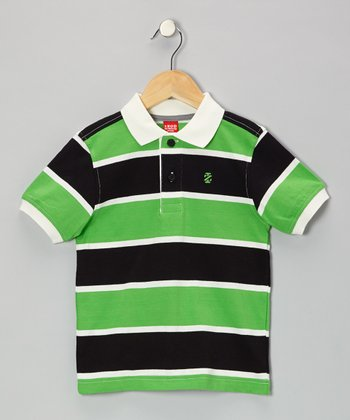 Cream Stripe Jersey Polo - Boys