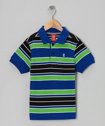 Blue & Green Stripe Piqué Polo - Boys