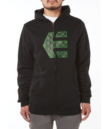 Black Icon Fleece Zip-Up Hoodie - Boys