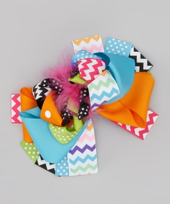 Orange & Blue Zigzag Bow Clip