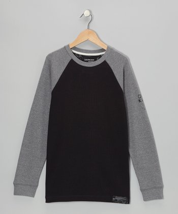 Black & Gray Raglan Thermal - Boys