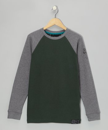 Bottle Green & Gray Raglan Thermal - Boys